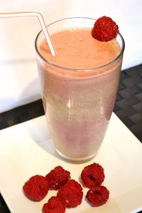 Strawberry, Orange and Dandelion Smoothie; Strawberry Vanilla Shake: Layered Smoothie