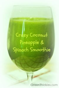 This Crazy Coconut Pineapple and Spinach Smoothie is such a refreshing snack. It only contains 4 ingredients. Find out what they are so you can make it.