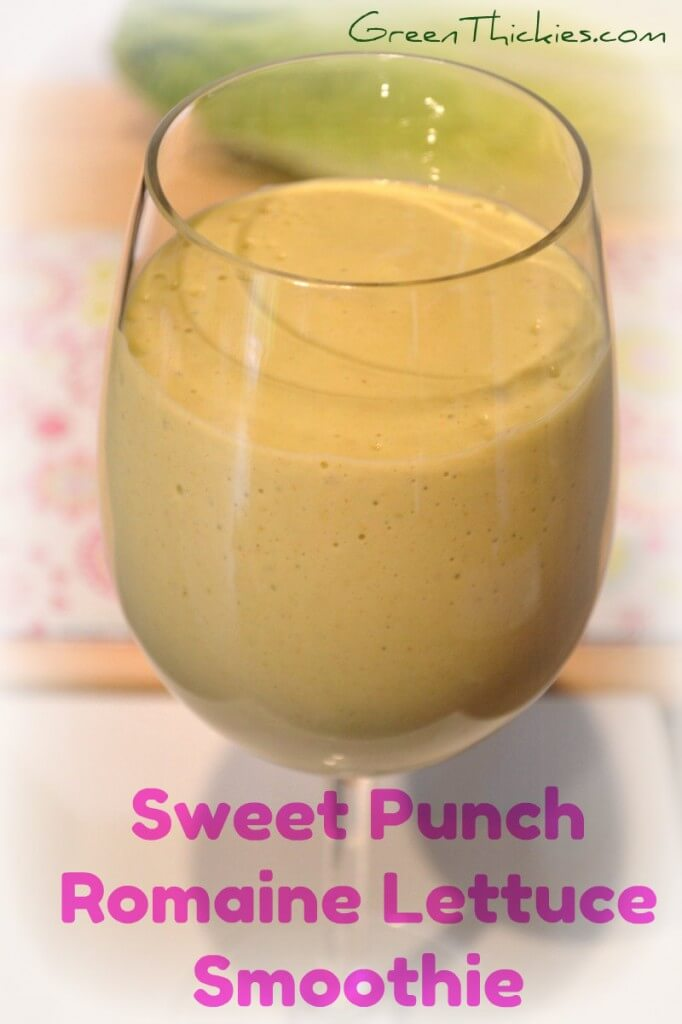 If you've never had romaine lettuce in a smoothie before, this Sweet Punch Romaine Lettuce Smoothie is a great one to start with