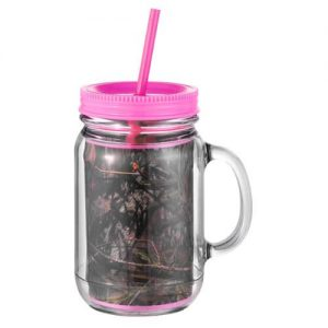 Mason Jar Camouflage Pink Camo Insulated Lid Straw