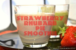 This Strawberry Rhubarb Pie Smoothie would taste amazing with home grown raw rhubarb