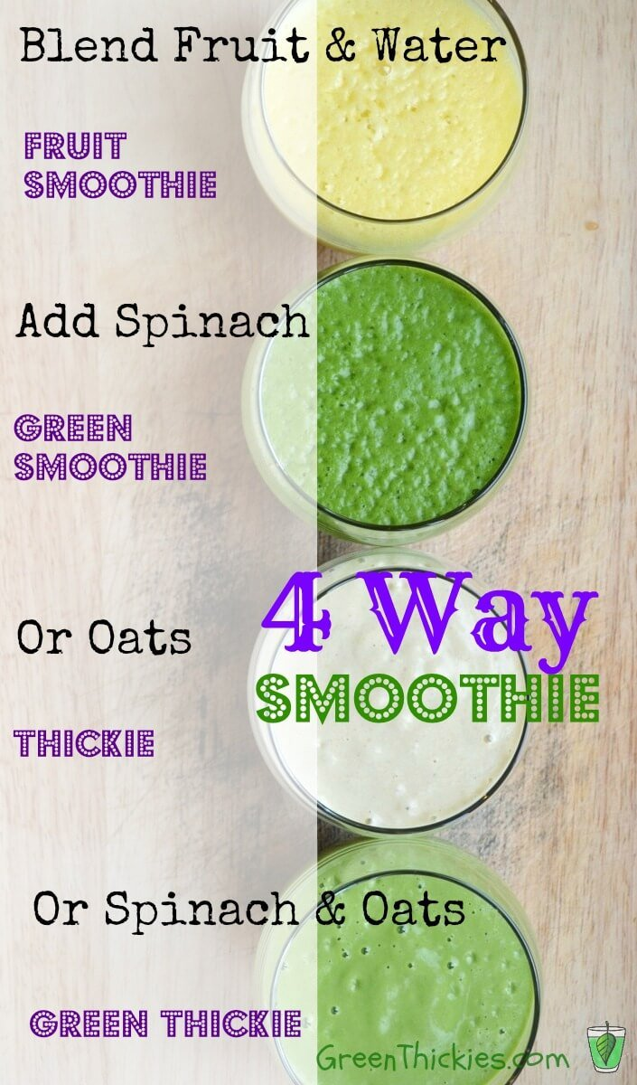 4 Way Smoothie: How to make a fruit smoothie 4 different ways