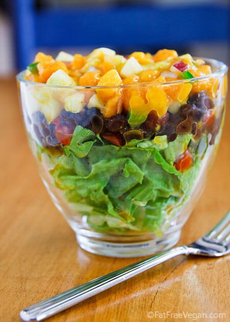 Layered Salad with Black Beans and Mango-Cucumber Salsa Fat Free Vegan Kitchen