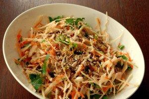 Crunchy Cabbage Salad with Orange-Tahini Dressing