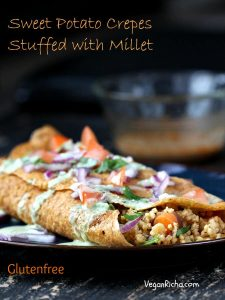 Smoky Millet Stuffed Sweet Potato Crepes with Jalapeno Aioli. Vegan Glutenfree Recipe