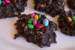 Healthy No Bake Chocolate Oatmeal Cookie Nests