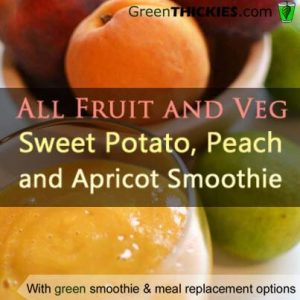 All fruit and veg sweet potato peach and apricot smoothie