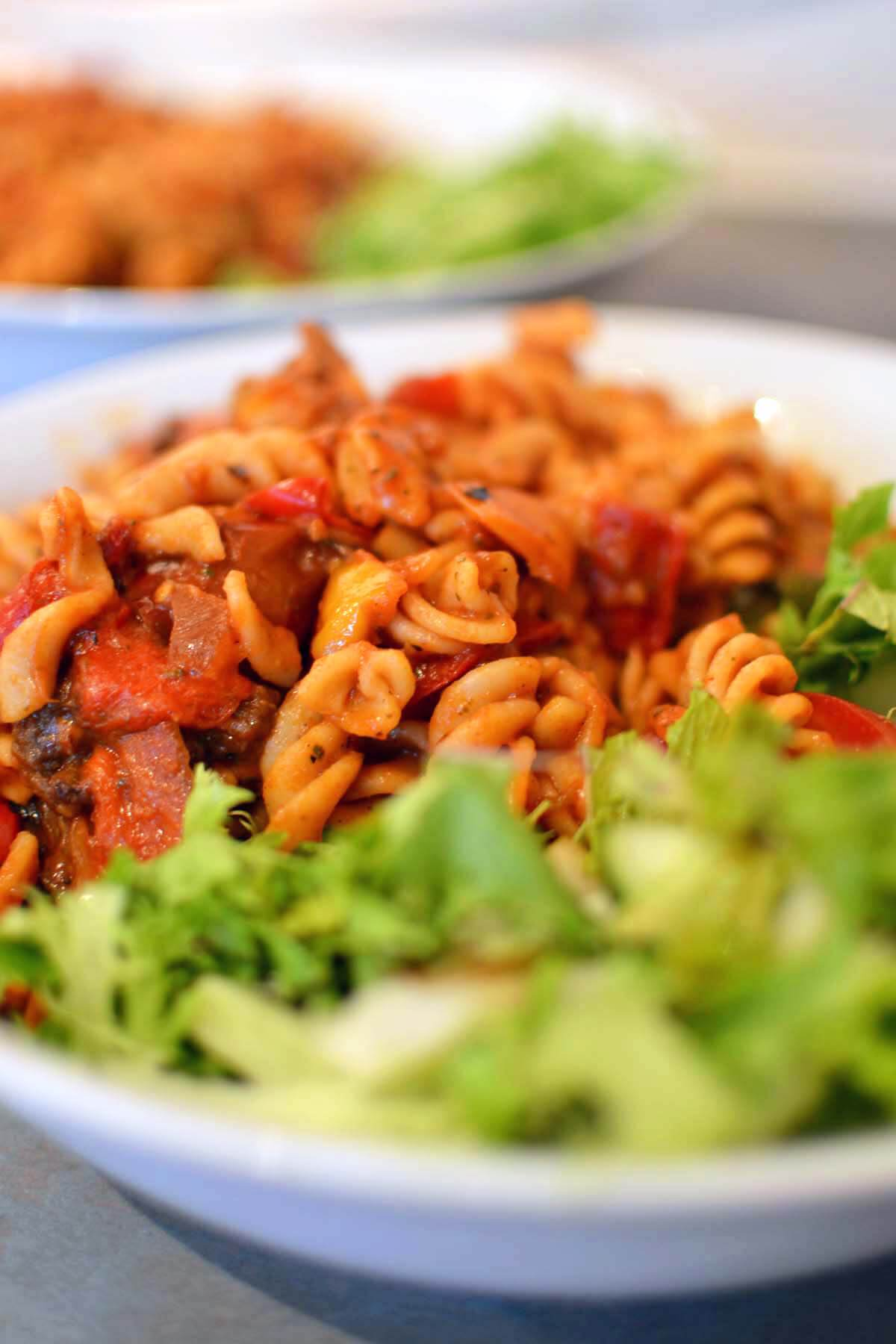 Pasta with tomato sauce and roasted veg
