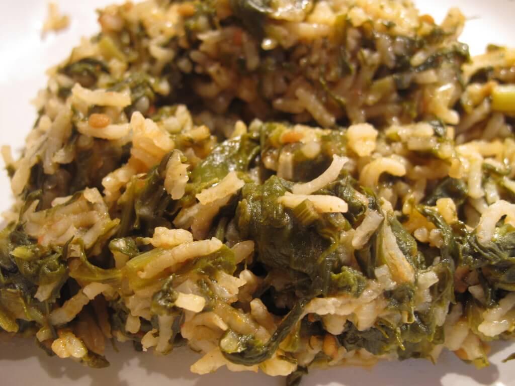 Spanakoritso – Greek Spinach with Rice – GF, Vegan