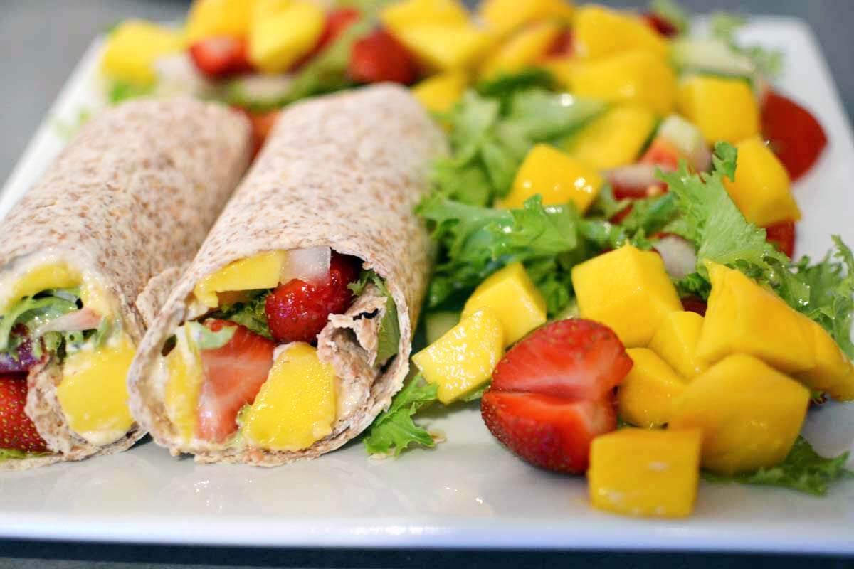 Speedy Hummus and Mango Wrap