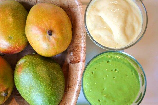 Creamy mango shake green thickie