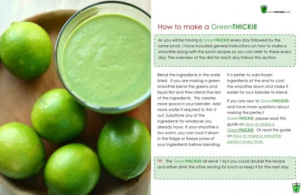 GreenTHICKIES 7 Day Diet Plan How to make a Green Thickie