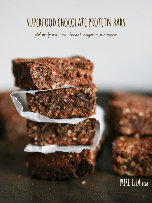 SUPERFOOD CHOCOLATE PROTEIN BARS  GLUTEN-FREE, NUT-FREE, VEGAN, LOW SUGAR