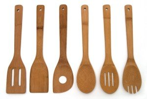 Set of 6 Bamboo Kitchen Tools, in Mesh Bag