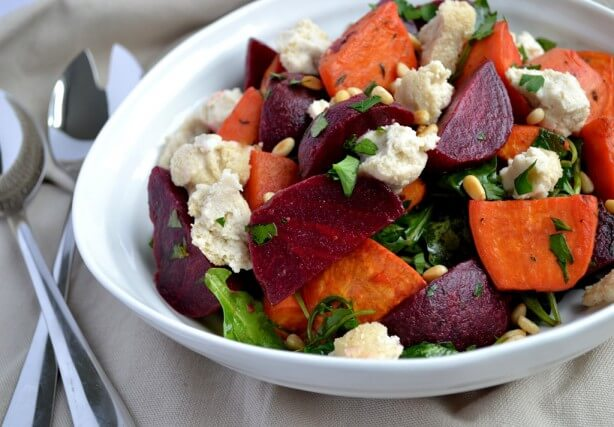 Beetroot & Sweet Potato Salad with Baked Cashew Cheese