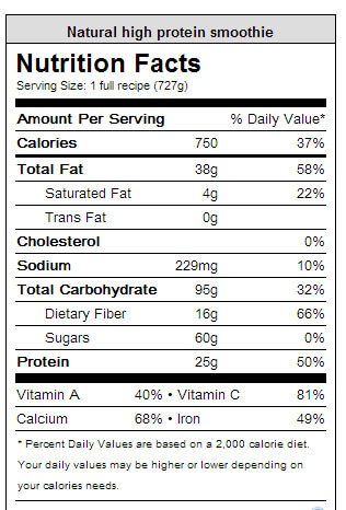 Natural Protein Smoothie Nutrition