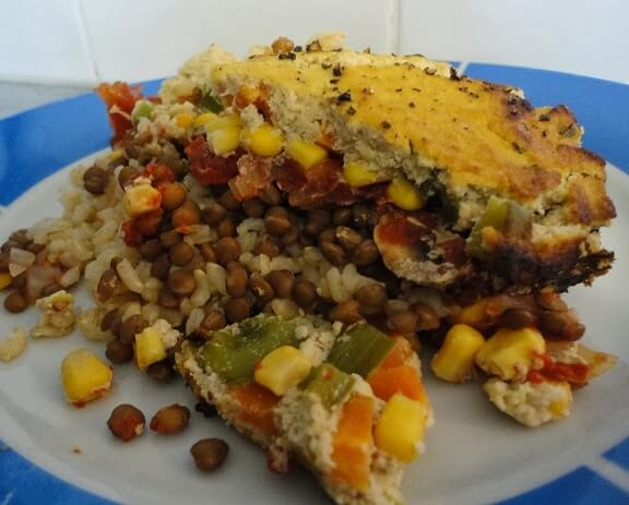 Veggie & Rice Bake with Cauli-Sauce Topping