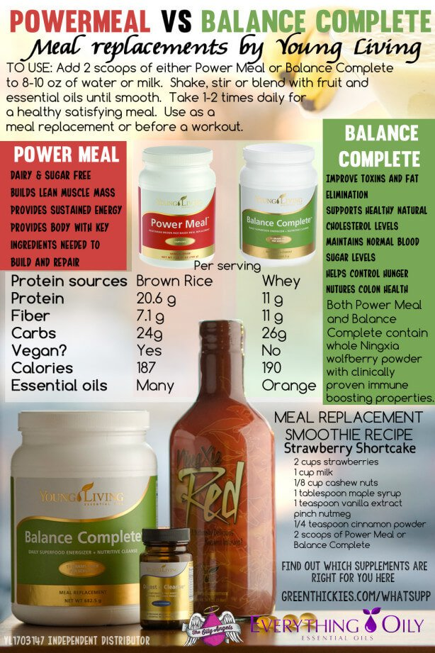 Power Meal Vs Balance Complete meal replacement powders by Young Living