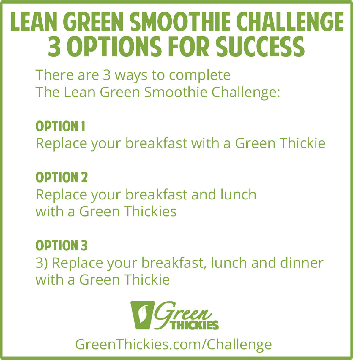 3 Options on The Lean Green Smoothie Challenge