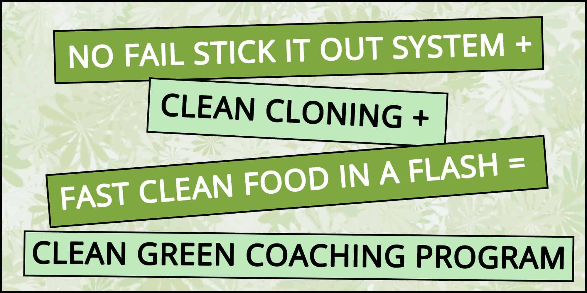 NO FAIL STICK IT OUT SYSTEM + CLEAN CLONING + FAST CLEAN FOOD IN A FLASH = CLEAN GREEN COACHING PROGRAM