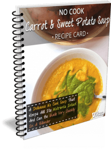 No Cook Carrot & Sweet Potato Soup Recipe Card