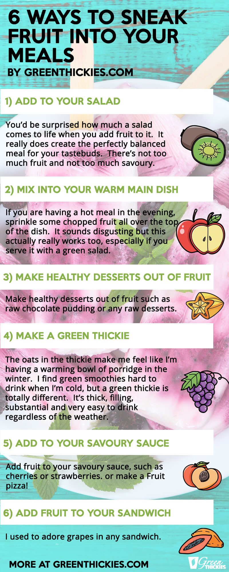 10 Awesome New Ways to Eat More Fruits for Health pin image with 6 facts