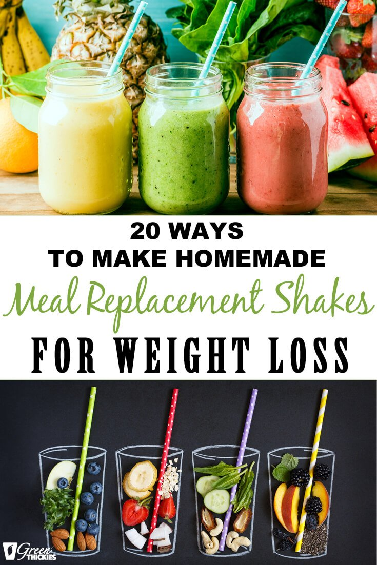 When I drink normal smoothies, they never filled me up, which led to binge eating and no weight loss.  So I created these homemade meal replacement shakes for weight loss which actually fill you up, reduce cravings and are tasty. I lost 56 pounds with these!  Check them out.  #greenthickies #smoothies #shakes #mealreplacementshakes #weightloss #weightlosssmoothies
