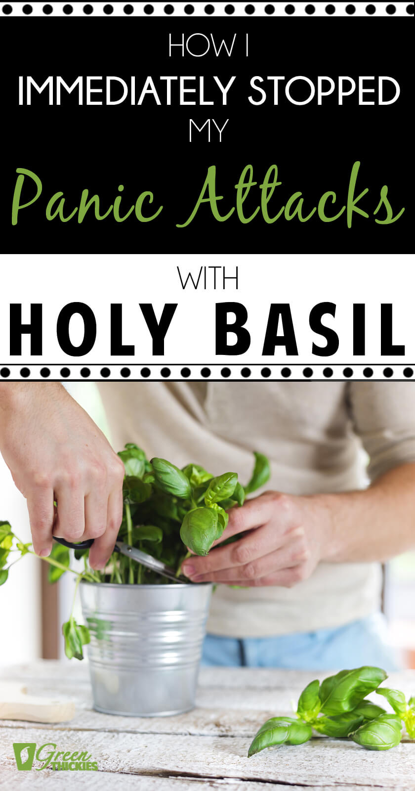 My anxiety and panic attacks had got to an extremely bad level.  Read about how I immediately stopped my anxiety with Holy Basil.I also share how I transitioned off Holy Basil and the other things that worked to heal the rest of my health problems.#greenthickies #anxiety #anxietyrelief #holybasil #panicattacks #stopanxiety #stoppanicattacks #anxietycures #holybasilbenefits