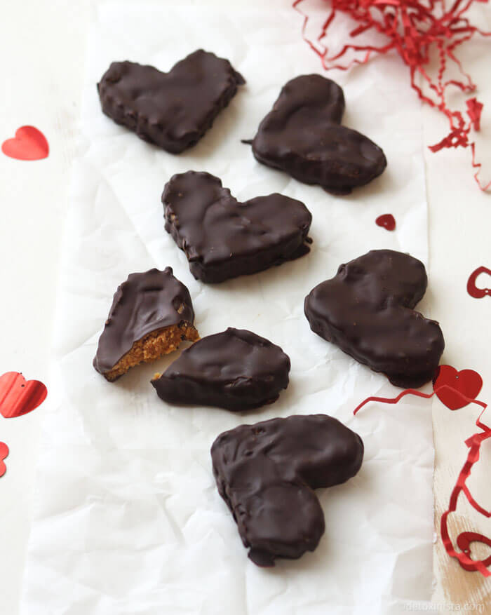 37 Healthy Valentine's Day Recipes: Indulge Without The Bulge VEGAN CHOCOLATE PEANUT BUTTER HEARTS