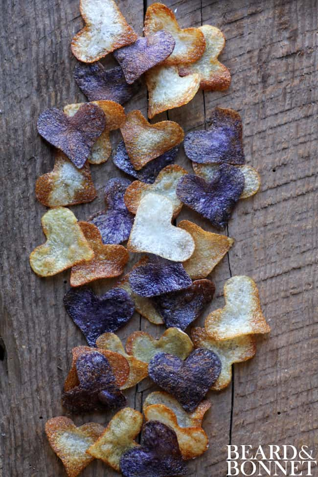 SMALL BATCH POTATO CHIPS FOR VALENTINE'S DAY (GLUTEN-FREE AND VEGAN) heart-shaped potato chips 37 Healthy Valentine's Day Recipes: Indulge Without The Bulge