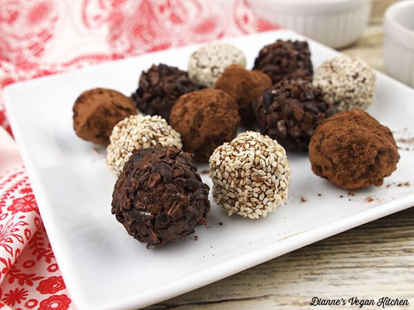 37 Healthy Valentine's Day Recipes: Indulge Without The Bulge VEGAN TAHINI TRUFFLES ON A PLATE