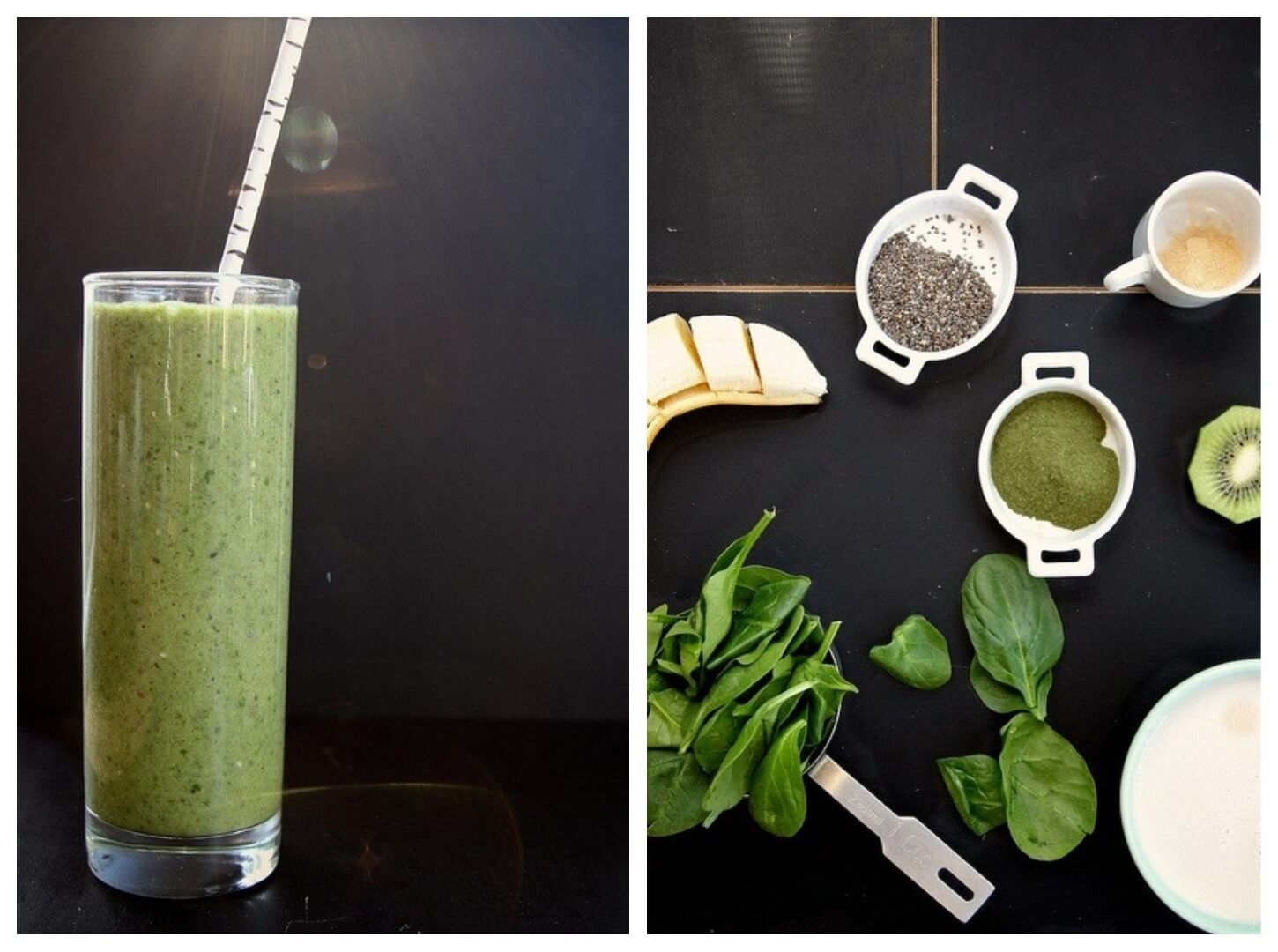 33 HEALTHY Green Drinks For St Patrick's Day Spinach Kiwi Chia Seed Smoothie