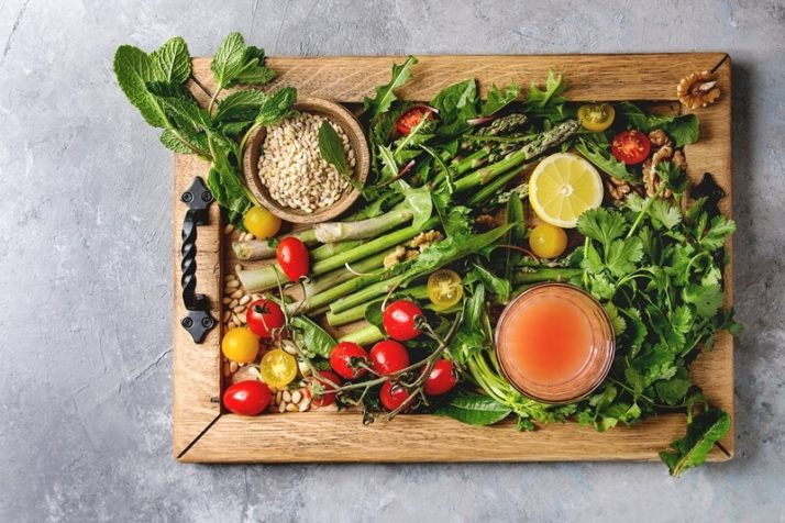 Paleo vs Vegan? Why A Pegan Diet Is Your Best Option; Assortment of vegetarian food ingredients