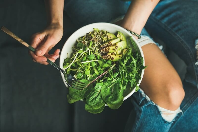 17 Surprising Spinach Nutrition Facts & Health Benefits; Clean eating breakfast with spinach, arugula, avocado, seeds and sprouts
