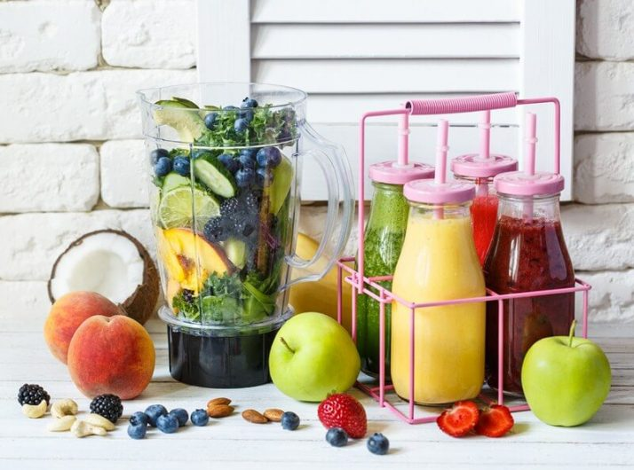 How To Store Smoothies 11 Ways (Fridge, Freezer, How Long); Fresh smoothie blender ingredients
