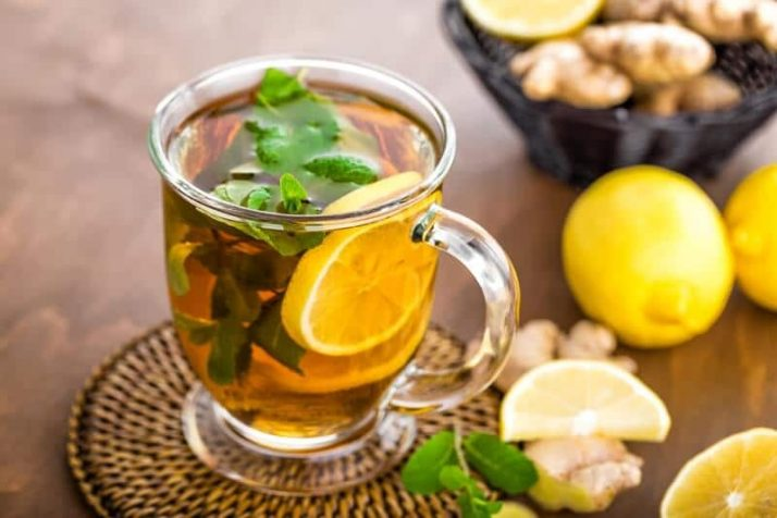9 Weight Loss Drinks That Work Wonders Hot herbal tea with fresh lemon, ginger and mint leaves