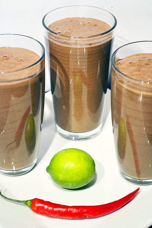 Strawberry, Orange and Dandelion Smoothie; Lime, Chili & Chocolate Smoothie