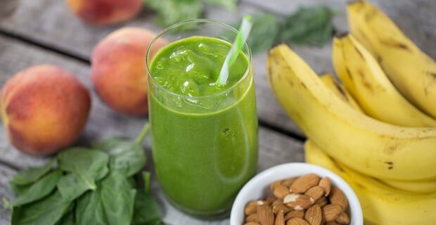 Peach Ice Cream Green Smoothie, with banana