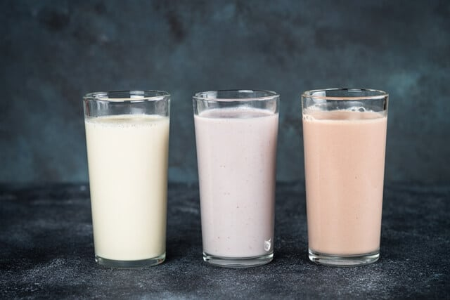 The Only Guide To Protein Shakes You'll Ever Need; Protein cocktails in glasses, sport nutrition, protein shakes