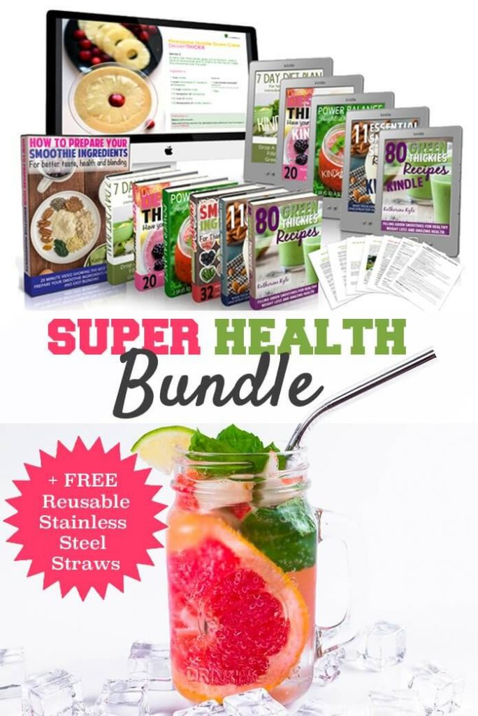 Super Health Bundle eBooks+ 4 FREE Reusable Stainless Steel Drinking Straws & Brush