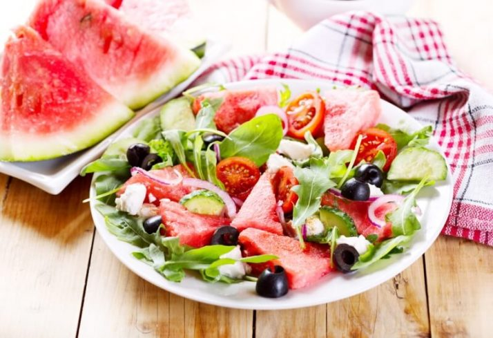 Paleo vs Vegan? Why A Pegan Diet Is Your Best Option; fruit vegetable salad, of leafy greens and watermelon