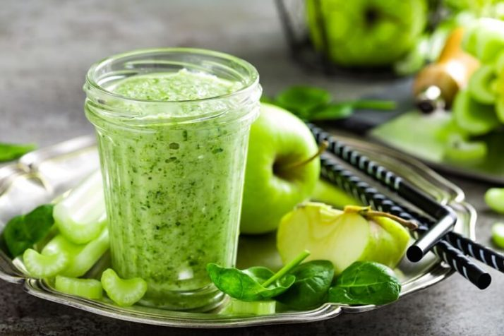 9 Weight Loss Drinks That Work Wonders green Smoothie of fresh green apple, celery and spinach