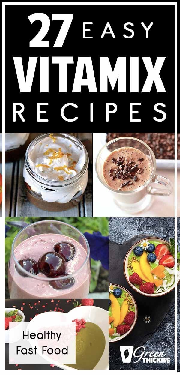 Here 27 easy Vitamix recipes.If you are into healthy fast food you are going to love these recipes.They are all vegan, gluten free, dairy free, refined sugar free and made from whole foods.  And best of all, they are fast and absolutely delicious.Click the link below to get the recipes:#greenthickies #vitamix #vitamixrecipes #blenderrecipes #blender #blendeddiet #smoothies #soups #sauces #drinks