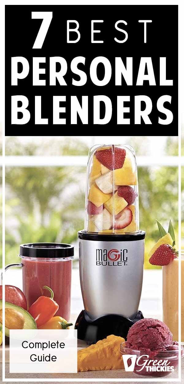 Here are the 7 best personal blenders that enable you to whizz up your own smoothie or shake and drink it in the same blender cup straight away. A personal blender is a smaller blender that saves you time, washing up and makes it much easier to just blend one serving of smoothie. It also saves on space and allows you to continue your healthy smoothie habit while travelling as the blender is compact and lightweight. Click the link to read the full blog post: #greenthickies #personalblenders