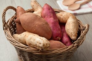 34 High Protein Vegetables You Probably Already Eat; Basket with sweet potatoes