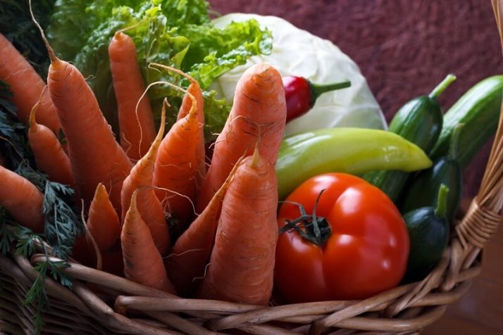 34 High Protein Vegetables You Probably Already Eat; Basket with vegetables