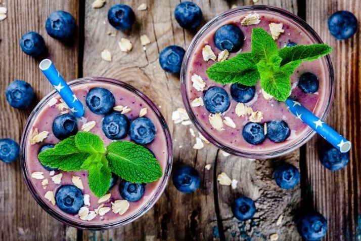 The Ugly TRUTH About Meal Replacement Shakes; Blueberry smoothie in a glass
