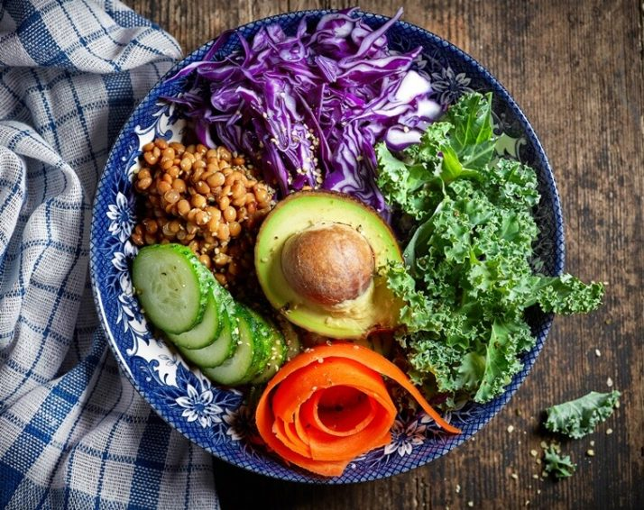 Kale Vs Spinach: We Compare Taste, Health, Protein, Nutrients; Breakfast vegan bowl, kale, avocado, red cabbage, carrot, cucumber