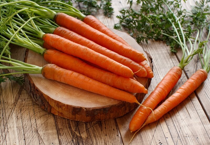 34 High Protein Vegetables You Probably Already Eat; Fresh raw carrots