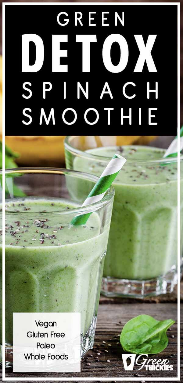Your body is going to thank you for this green detox spinach smoothie. You might not believe me, but this recipe actually tastes good as well as satisfying all of your cravings.It is the perfect healthy snack to keep you going in between meals.Click the link to read the full blog post and get the printable recipe:#greenthickies #spinachsmoothie #greensmoothie #spinachrecipes #spinach #smoothies #snacks #healthysnacks